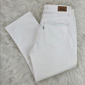 Levi's white cropped denim jeans